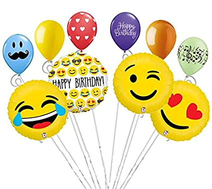 Image Unavailable Not Available For Color 10 Pc Emoji Happy Birthday Balloon