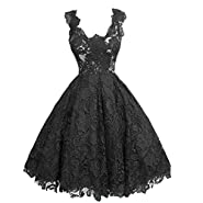 Buenos Ninos Women's Sleeveless Fit and Flare V-neck Lace Evening Gown Dress