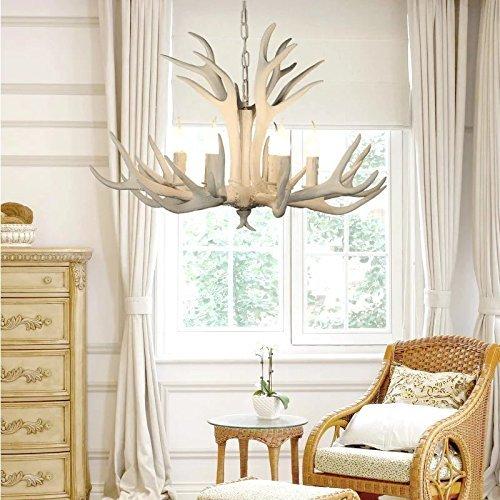EFFORTINC Vintage Style Resin White Antler Chandelier 6 Lights,Living Room,Bar,Cafe, Dining Room, Bedroom,Study,Villas,American Retro Deer Horn Pendant Lights
