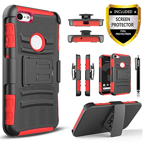 Pixel 3 XL Case, Google Pixel 3 XL Case With [Premium Screen Protector Included] Combo Holster Phone Cover [Not Fit Pixel 3] Built-in Kickstand and Heavy Duty Belt Clip Holster with Stylus Pen-Red