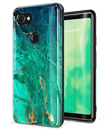GVIEWIN Marble Google Pixel 2 XL Case, Ultra Slim Thin Glossy Soft TPU Rubber Gel Phone Case Cover Compatible Google Pixel 2 XL 2017 Release (Green/Gold)