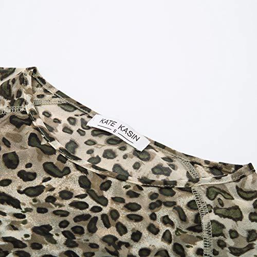Women's Leopard Pattern Sheer Mesh Top Shirts for Festivals Clubwear(S,Leopard Print)