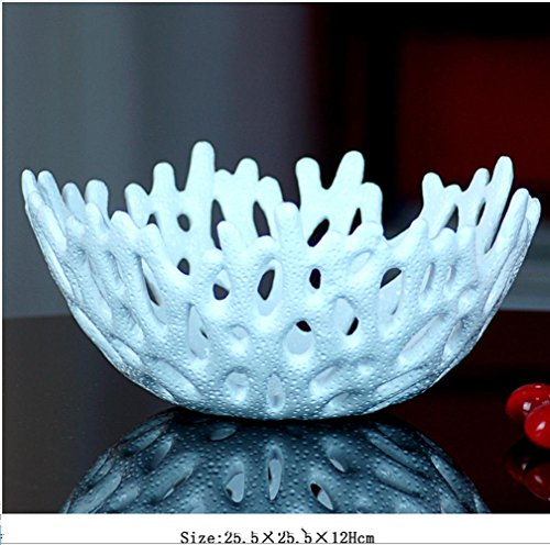 B&D Creative fruit bowl Eastern Mediterranean style coral fruit bowl decoration home decoration , white , small