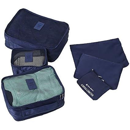 Molain 6-en-1 Set de Organizador de Equipaje, Impermeable Organizador de Maleta Bolsa para Ropa Sucia de Viaje, Material Nylon (Azul Oscuro)