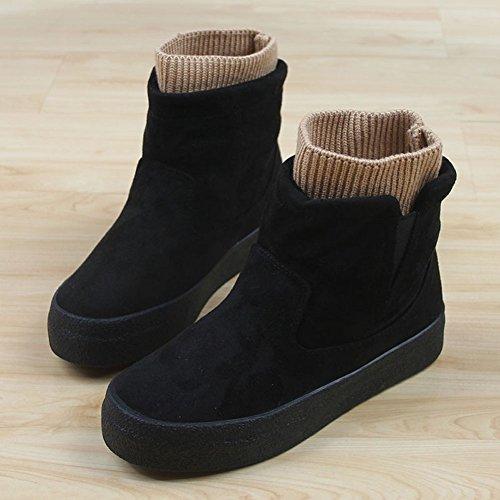 Getmorebeauty Botas De Nieve Para Mujer Soft Stretch Cable Knit Warm Winter Botines Planos Negro