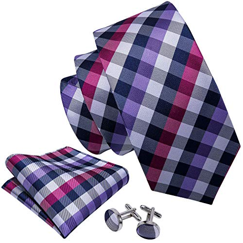 Barry.Wang New Design Plaid Necktie Set for Men,Purple Grey,One Size