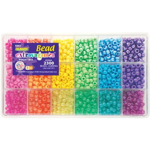 The Beadery Sparkles Pony Bead Box - approximately 2300 beads]()