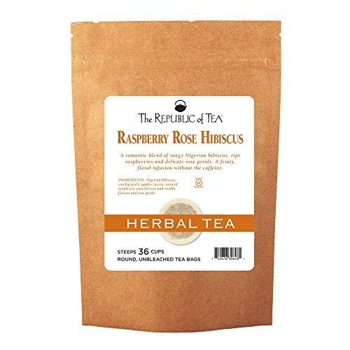 The Republic Of Tea Raspberry Rose Hibiscus Tea, Caffeine-Free Herbal, 36 Tea Bag Refill (Rose Petal Tea Republic Of Tea)
