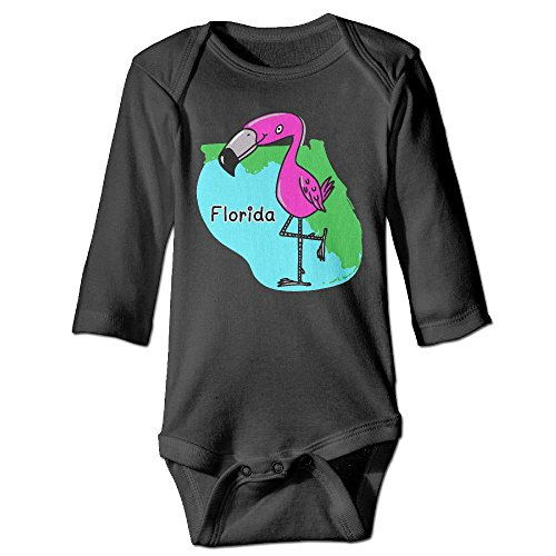 HHH Map Of Florida With Miami Flamingo Fall Long Sleeve Infant Baby Boys Girls Toddler Climb Jumpsuit | Crawling - Miami Florida Falls The