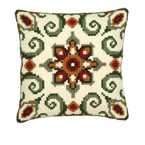 Chunky Cross Stitch - Vervaco Red/Cream Cushion Front 8 Chunky Cross Stitch Kit