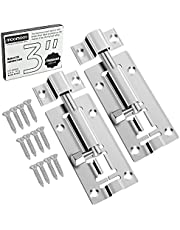 moomoov 1.2mm Thickened 3 inch Stainless Steel Slide Door Latch Lock Barrel Bolt, Heavy Duty to Keep You Safe and Private, for Chests, Cabinets, Windows, Fences(2 Pack)