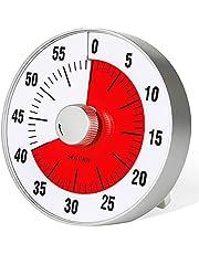 Secura Temporizador de contagem regressiva visual grande de 19 cm, temporizador de cozinha de 60 minutos   ferramenta de gerenciamento de tempo para crianças, professores e adultos (vermelho)