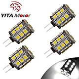 YITAMOTOR 4 X G4 Pin 27 SMD 5050 360 Degree 12V AC/DC Crystal Pure White LED lights 450LM