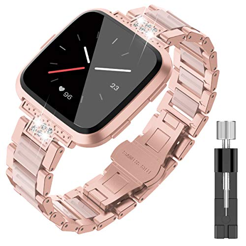 TOYOUTHS Stylish Bracelet Compatible with Fitbit Versa Bands for Women Men Metal Resin Wristbands Replacement for Fitbit Versa Lite SE Accessories Strap Watch Band Rose Gold+Pink