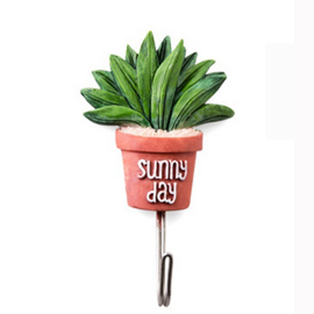 Newest Simulation Succulent Plants Pot Strong Self-Adhesive Wall Door Hook Hanger (D)