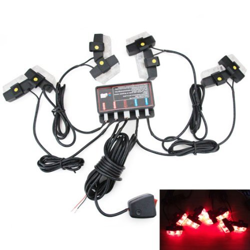 Low Profile LED Grille Clip on Mounting Emergency 16-LED Strobe Lights - Red ()
