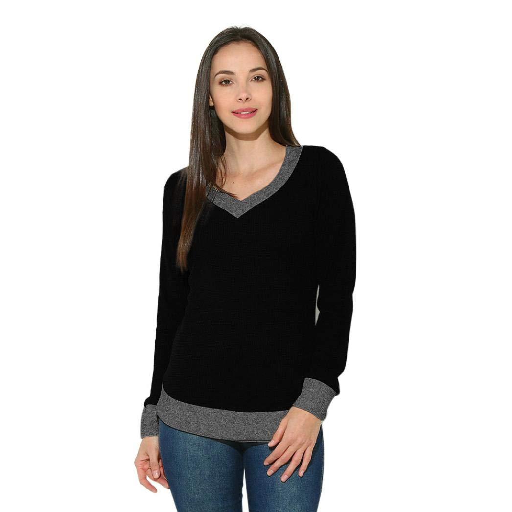 Pandaie Jacket,Women V Neck Long Sleeve Casual Curve Hem Sweater Women Fashion Tops BK/S