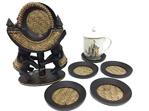 Great American Bar Stools Oak Bar Stools (Vintage Wooden Coster Set Furniture Home Decor Antique Coaster Holder ( Elephant Pattern ) For 6 Person)