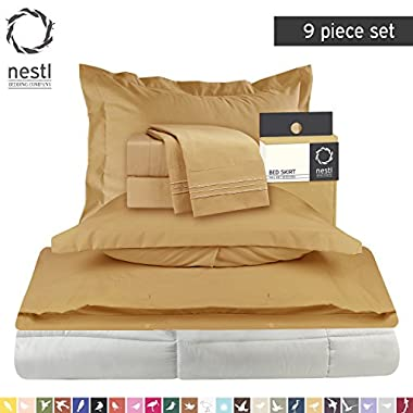 Bed-In-A-Bag 9 Piece Complete Bed Sheet Set Ð King Camel- Bedding Package Includes Fitted and Flat Sheets, 2 Pillowcases, Pillow Shams, Comforter, Duvet Cover and Bed Skirt.