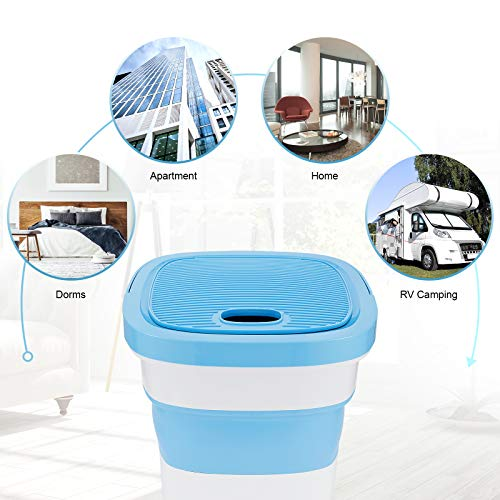 AUGOLA Portable Washing Machine, Folding Mini Washing Machine Cleaner Semi-Automatic, Built-in Drain Pump, Ideal for Apartments, RV, Camping