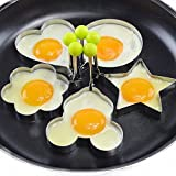 Eshop99 Egg Mold Ring Stainless Steel Egg Pancake Mold Ring Kitchen Utensil for Creative Breakfast 5 Piece Set--- Round, Heart, Flower, Five-Pointed Star and Mickey Mouse Shaped Egg Mold Ring