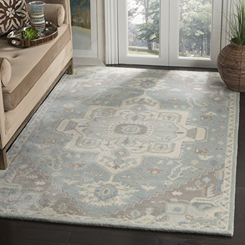 Safavieh Heritage Blue Rug (Safavieh HG823A-6SQ Heritage Collection Premium Wool Area Rug, 6'/Square, Blue/Ivory)
