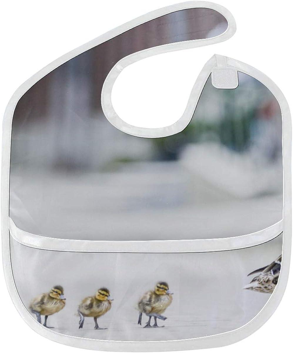 Baby Food Bib Mallard Duck With Her Ducklings Custom Soft Stain Baby Feeding Dribble Drool Bibs Burp For Infant 6-24 Months Bib For Girls
