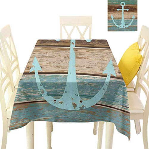 - Anchor Decor Tablecloths, Boat Anchor Nautical Rustic Wooden Planks Rectangular Fabric Table Cloths for Dining Room Kitchen, 60'' x 84'' Baby Blue Taupe and Tan