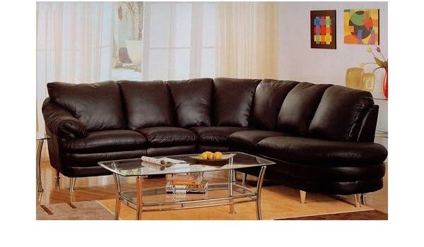 Amazon.com: Modern Style Delano Black Leather Media Sectional Sofa w ...