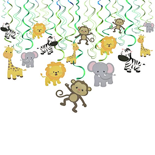 Konsait Jungle Animal Hanging Swirl Decoration(30Pack), Safari Theme
