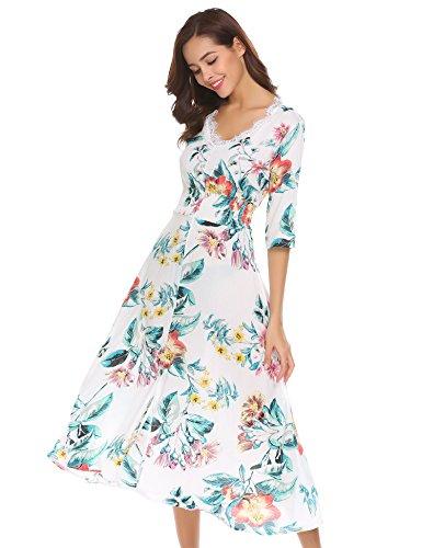 Funpor Women's V Neck 3/4 Sleeve Floral Print Split Chiffon Long Midi Dress