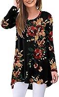 AWULIFFAN Women's Casual Long Sleeve Round Neck Loose Tunic T Shirt Blouse Tops