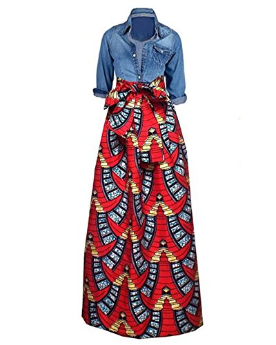 Huiyuzhi Womens African Print Dashiki Dress Long Maxi A Line Skirt Ball Gown (XXL, Red-Black)