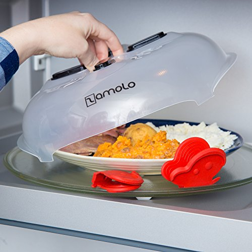 Zamolo Magnetic Hover Microwave Splatter Food Cover With 2 Silicone Mitt Pot Holders | BPA Free & Dishwasher Safe Plastic Guard With Strong Magnets & Vented Top | Heat Food, Minimize Splatters & Mess