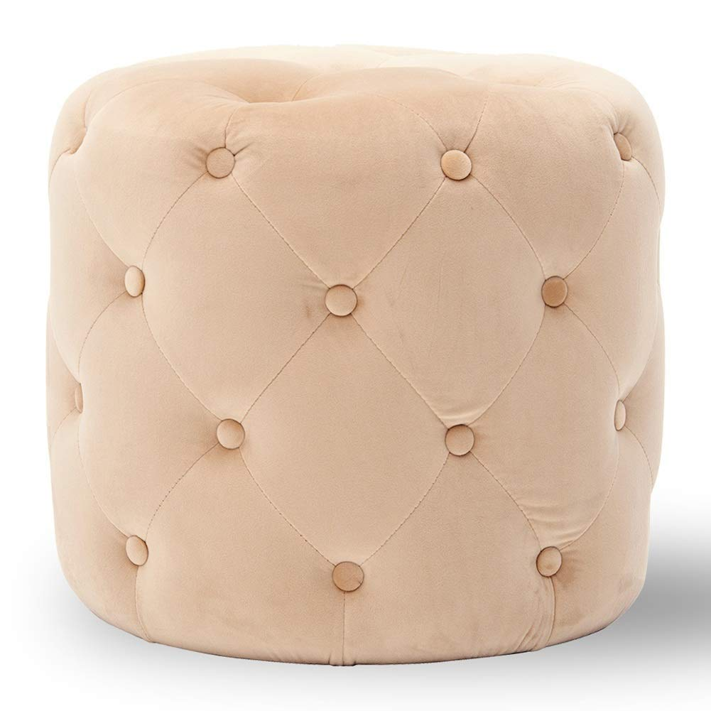 Beige 45x41cm Footstool Cozy Flannel Cushion Thick Sponge Wooden Frame Multifunction Portable Cylindrical 14 colors GAOFENG (color   Purple, Size   45x41cm)