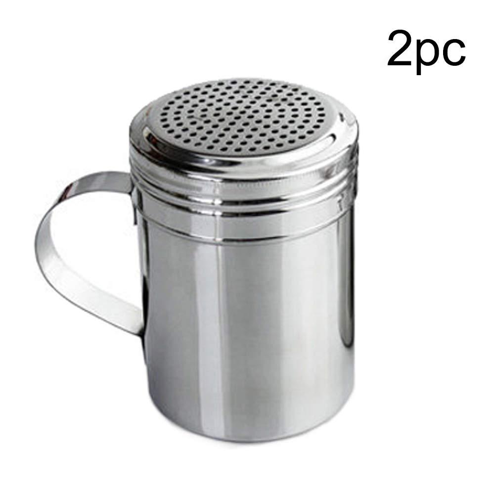S1Pc small 1pc Botellas de especias 1//2 piezas Dredge Shaker Cocina Herramienta Sugar Barbacoa Polvo Pimienta Salero Dispensador de acero inoxidable con mango Vers/átil