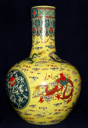 Large Hand Made Yellow Porcelain Dragon Vase - Hand Painted! (Dragon Standing Candle)