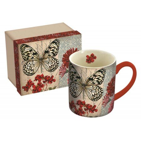 LANG  Fly Away  14 oz Ceramic Coffee Mug  Cheery Butterfly, Red Flowers  Art by Kimberly Poloson (5021082) (Contemporary Coffee Mugs)