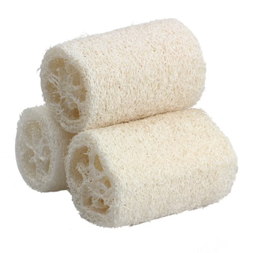 Tenflyer Pack of 3 Natural Loofah Bath Body Shower Sponge Scrubber (Diameter Around 3Inch)
