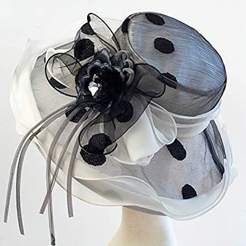 June's Young Women Hats Organza Lace Polka Dot Black White Wedding Wear Fedoras (White Black)