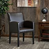 Christopher Knight Home 267737 Biltmore Amalee Bonded Leather and Stained Wood Side Chair, Brown For Sale