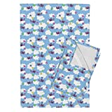 Roostery Flying Tea Towels Flying Game Small by Spacefem Set of 2 Linen Cotton Tea Towels