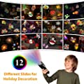 Fitfirst Handheld Halloween Projector Lights, 12 Slides Projection Holiday Lights, Battery-Operated 2 in 1 Decoration Light & Handheld Flashlight for Home Party, Birthday, Christmas, Easter