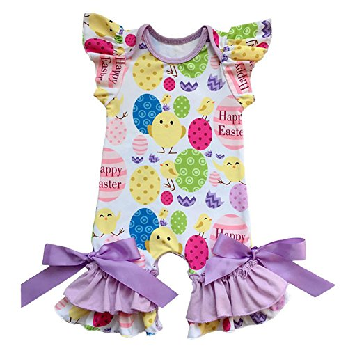 Chick Purple - Newborn Toddler Baby Girls Romper 1st Valentine's Day Jumpsuit All in One Bodysuit Birthday Outfit Pajama Clothes Playsuit Nightwear Cake Smash Party Babygown Purple Chick&Easter Eggs 12-18 Months