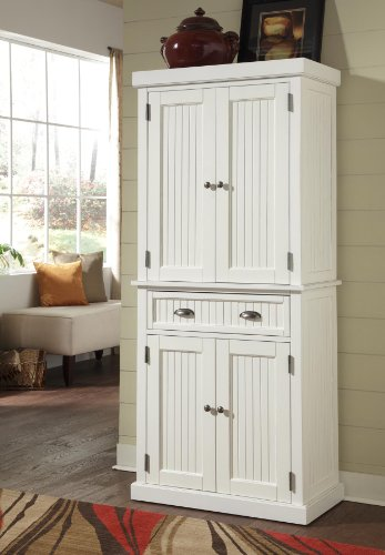 Home Styles 5022-69 Nantucket Pantry, Distressed White Finish Kitchen Storage Pantry Cabinet