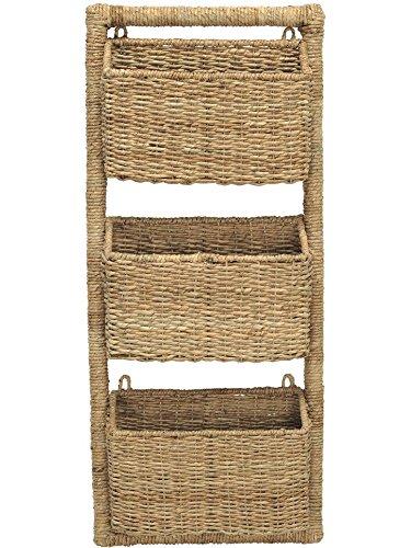 KOUBOO 3 Pocket Wall Magazine Rack in Twisted Sea Grass (Basket Hanging Wicker File)