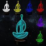 Meditation 3D Illusion Lamp Night Light Birthday Anniversary Party Gift Modern Meditation Mood Lamp Illusion Lamp (Yoga Meditation)