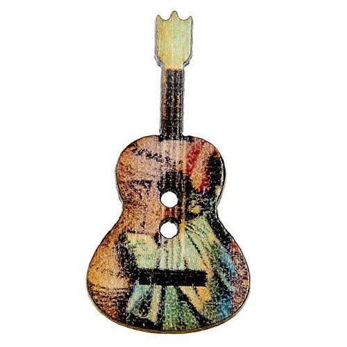 (50 Pcs Mixed Wood Buttons 2 Holes Flower Guitar Shape Sewing Scrapbooking - Random Color liyhh)