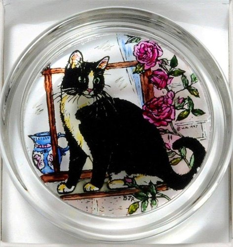 Decorative Hand Painted Stained Glass Paperweight in a Black and White Cat Design.