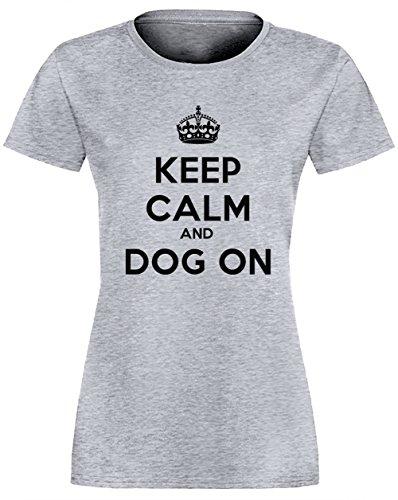 Keep Calm And Dog On Gris Coton Femme T-shirt Col Ras Du Cou Manches Courtes Grey Women's T-shirt